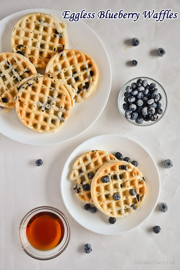 Eggless Blueberry Waffles